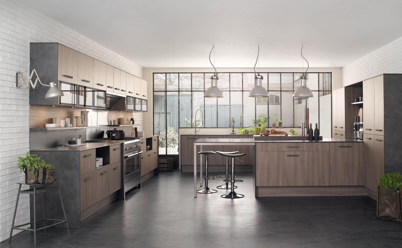 Salon Moderne L Alger : Cuisine M100 Mélaminé Rustica gris Perene Lyon