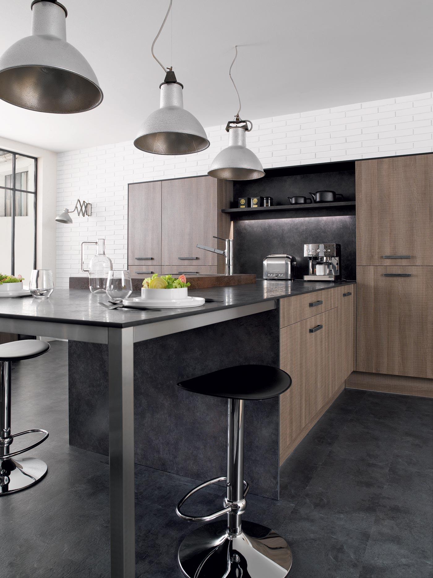 cuisine m100 m lamin rustica gris perene lyon. Black Bedroom Furniture Sets. Home Design Ideas