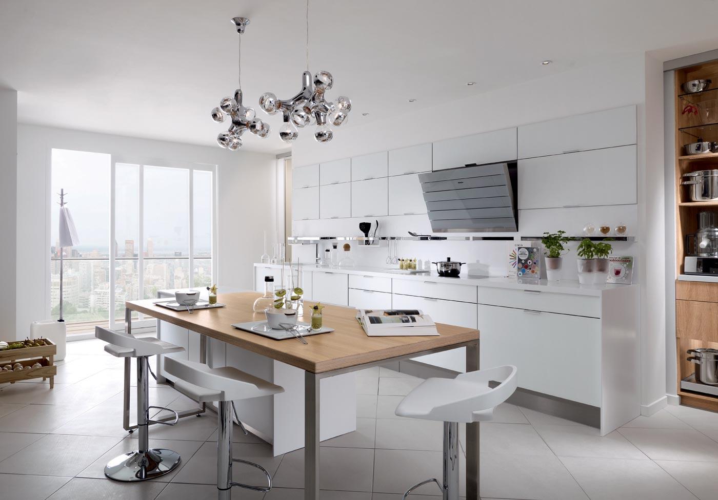 Cuisine m100 m lamin blanc pur mat rustica clair for Cuisine lineaire design