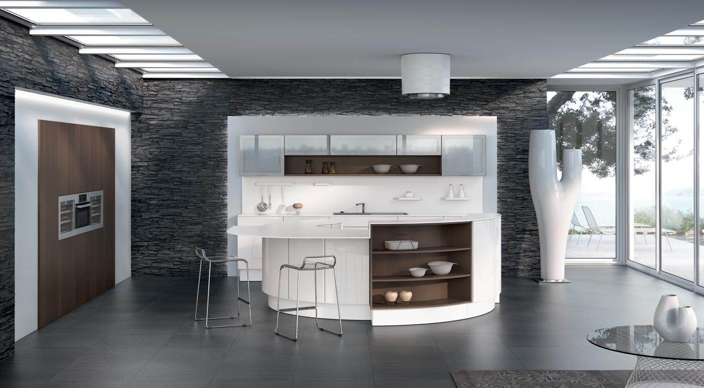 Cuisine integree moderne recente blanc laque for Cuisine but catalogue