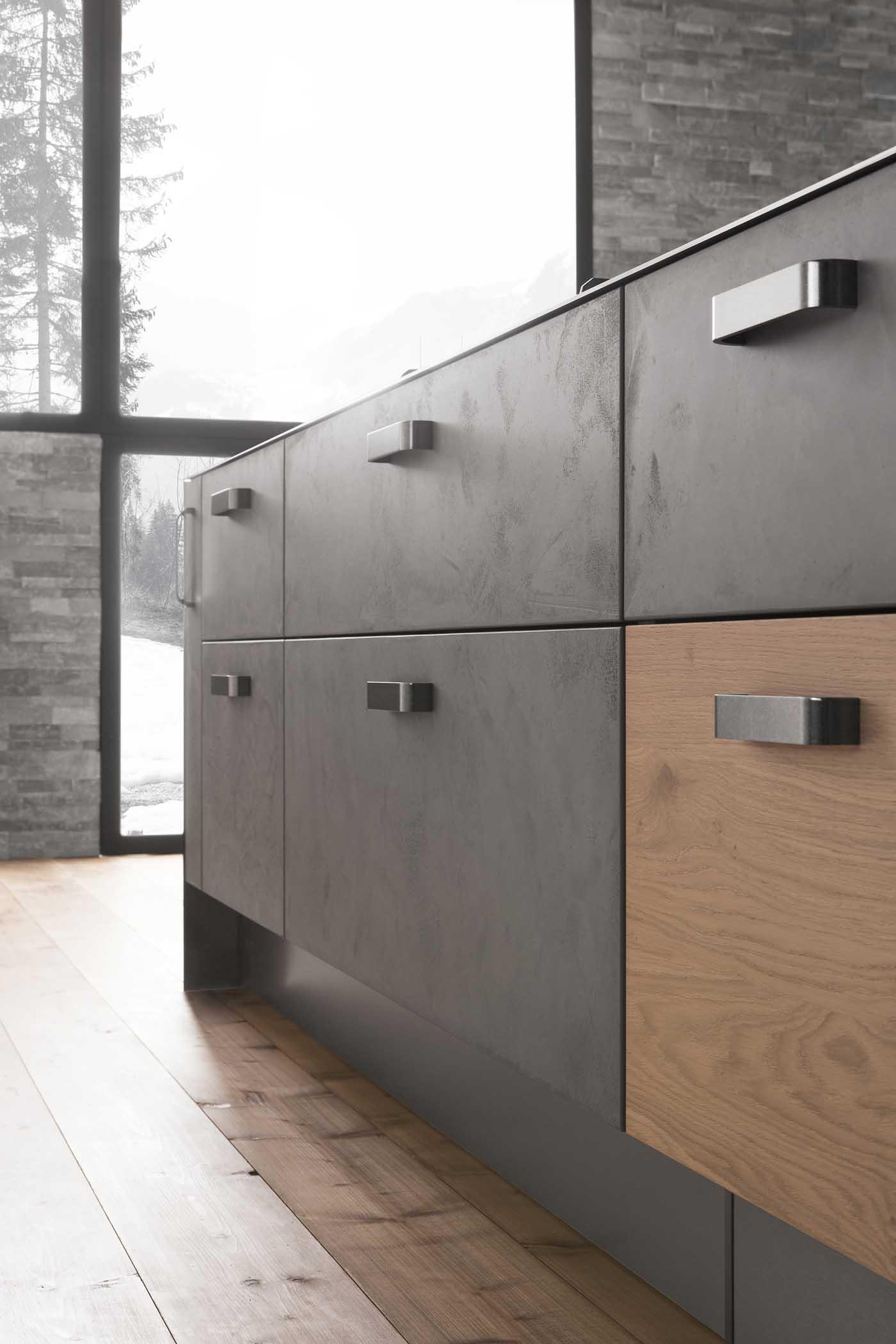 Cuisine l510 laque b ton gris armoires open line placage for Placage armoire cuisine