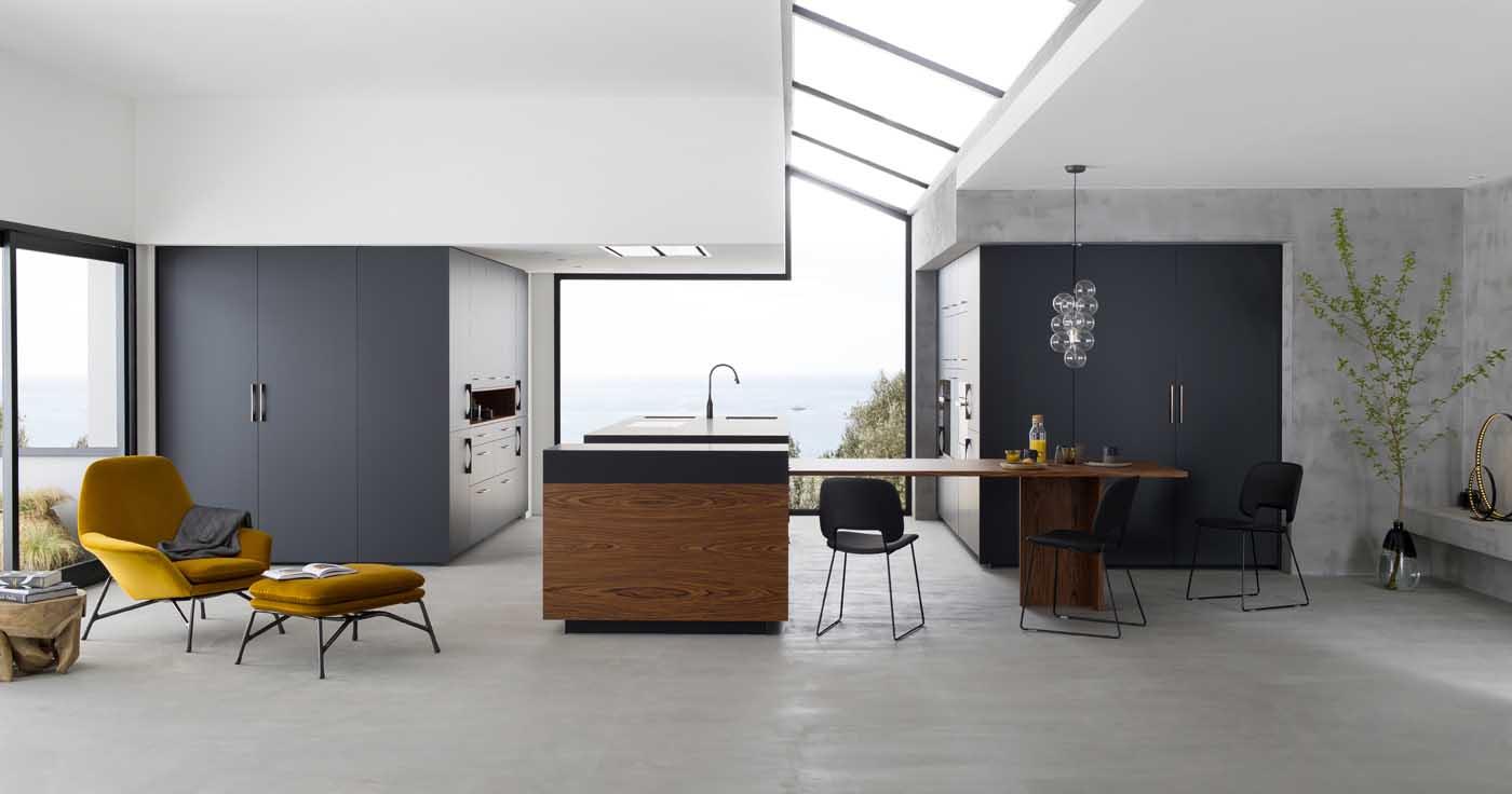 cuisine b600h placage palissandre v200 verni noir mat. Black Bedroom Furniture Sets. Home Design Ideas