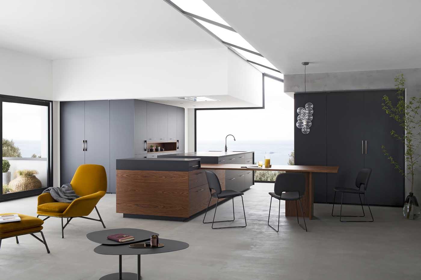 cuisine b600h placage palissandre v200 verni noir mat perene lyon. Black Bedroom Furniture Sets. Home Design Ideas