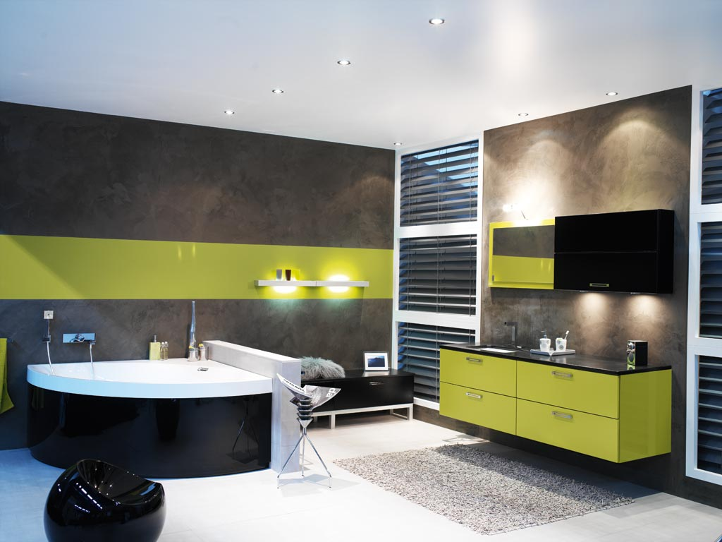 salle de bain gris et vert. Black Bedroom Furniture Sets. Home Design Ideas