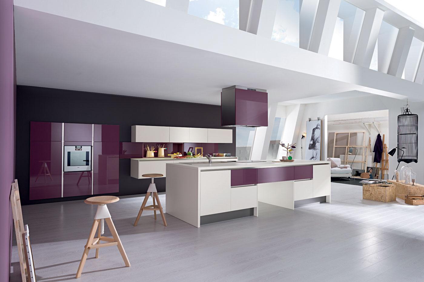 cuisine l500 laqu avorio brillant laqu rose tyrien perene lyon. Black Bedroom Furniture Sets. Home Design Ideas