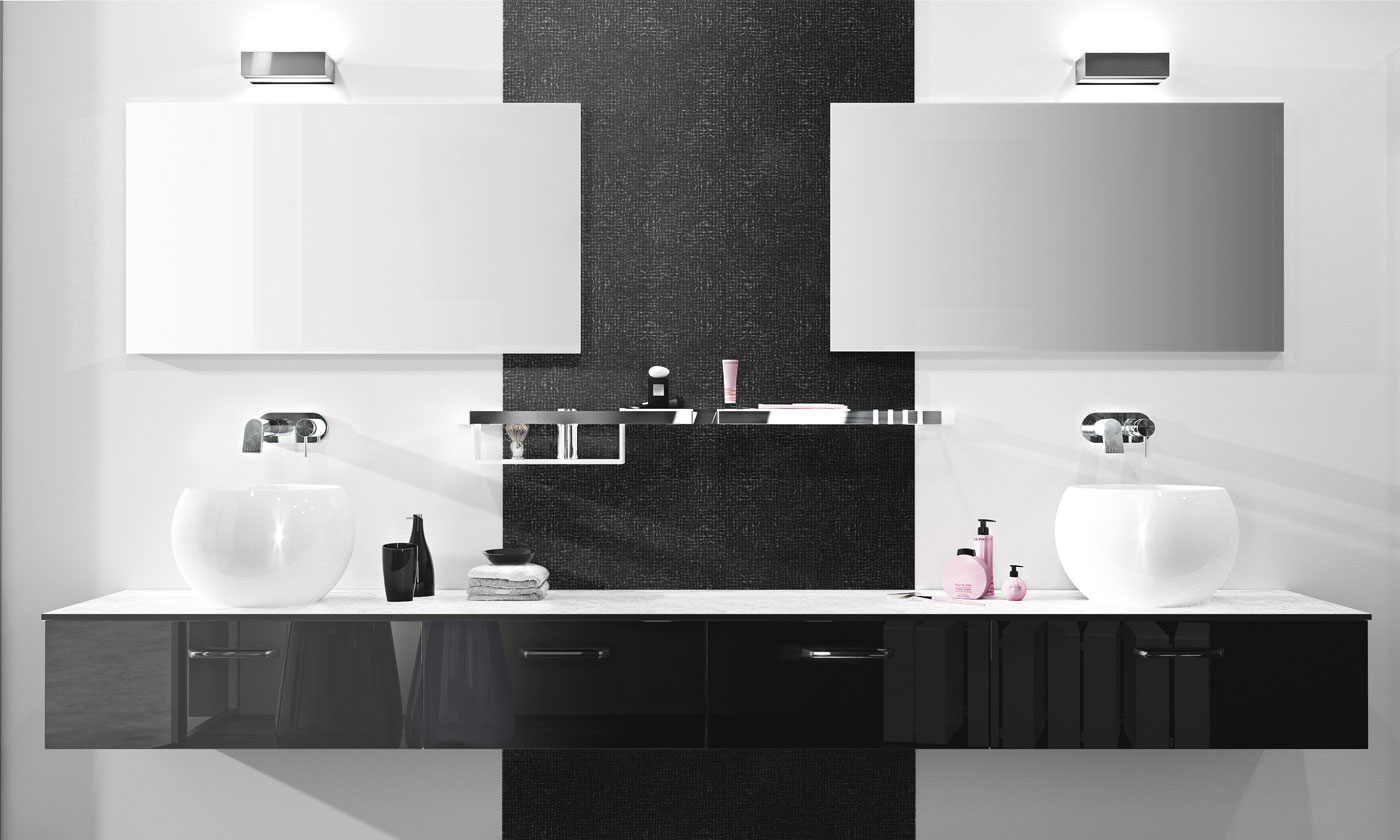 salle de bain opale carbone verni brillant perene lyon. Black Bedroom Furniture Sets. Home Design Ideas