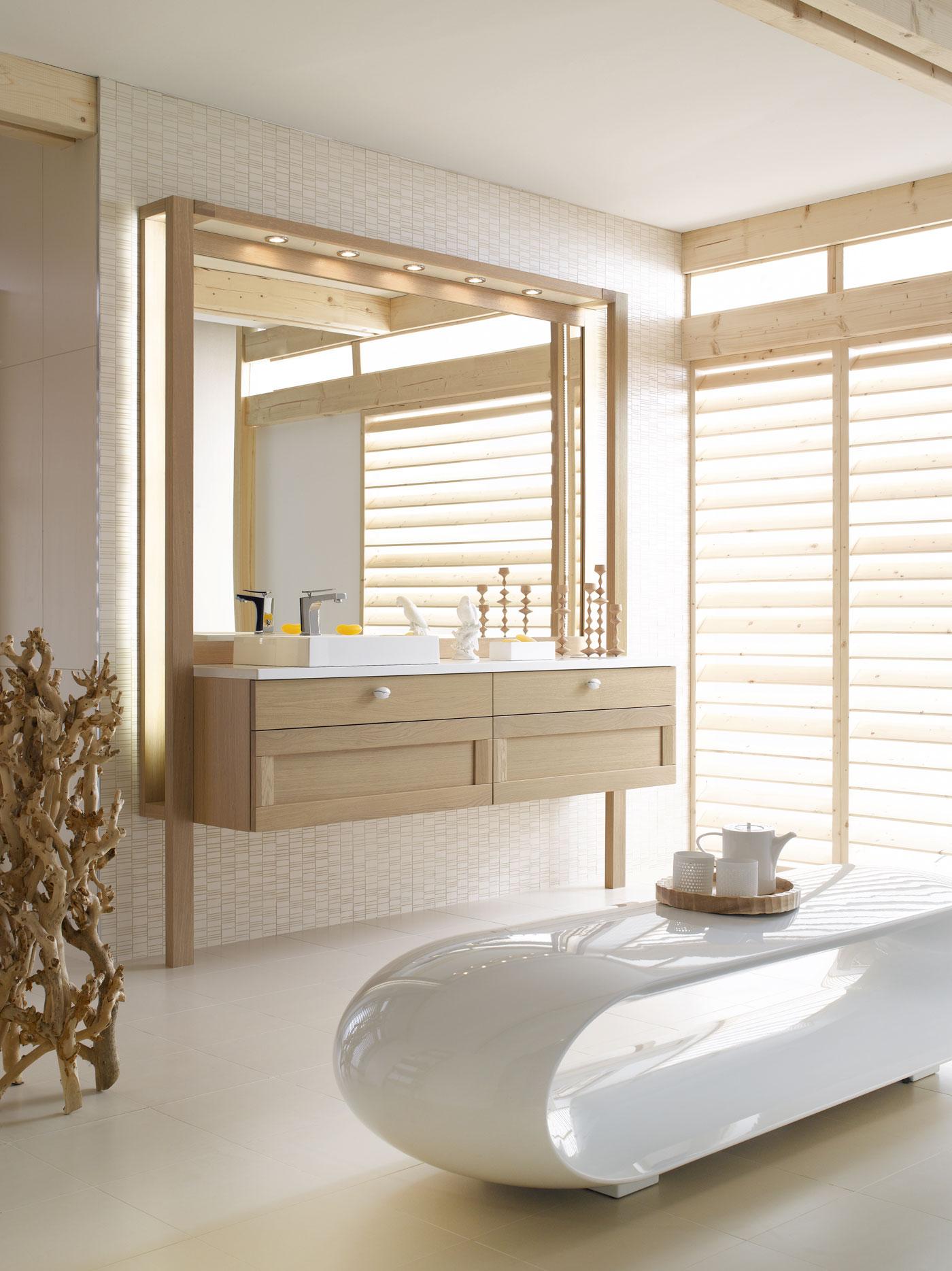 Salle de bain oze ch ne blanchi vasque rectangulaire - Salle de bain rectangulaire ...