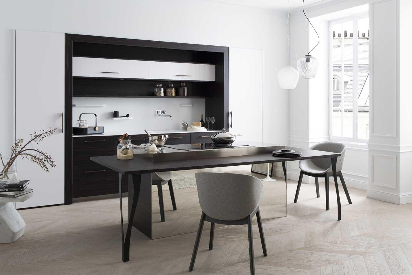 cuisine b600h placage eb ne de macassar l500 laque blanc pur soft perene lyon. Black Bedroom Furniture Sets. Home Design Ideas